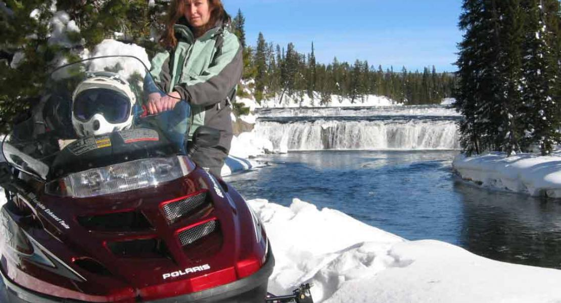 Snowmobile to Cave Falls
